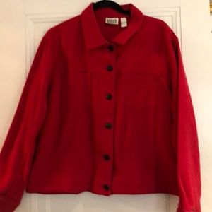 Chico's red jean jacket style jacket in cotton